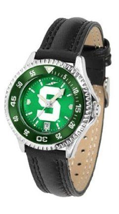 Michigan State Spartans MSU NCAA Womens Leather Anochrome Watch by SunTime. $79.95. Showcase the hottest design in watches today! A functional rotating bezel is color-coordinated to compliment your favorite team logo. A durable long-lasting combination nylon/leather strap together with a date calendar round out this best-selling timepiece.The AnoChrome dial option increases the visual impact of any watch with a stunning radial reflection similar to that of the underside of a CD. ...