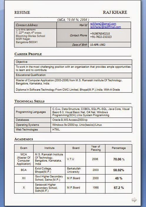 Mca Resume Format For Freshers. 8 Best Resume Images On Pinterest