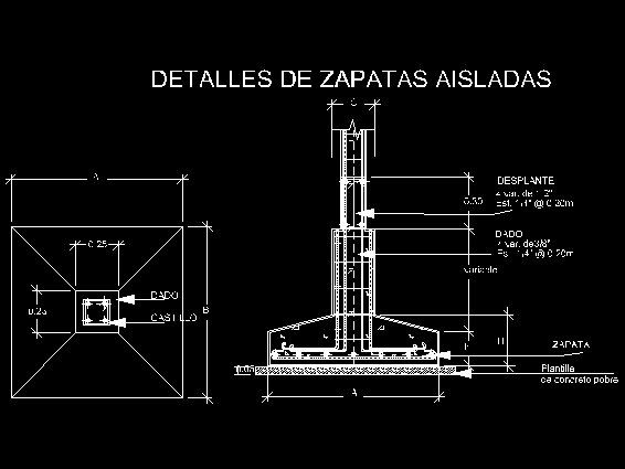 Zapatas descarga gratis de planos archivos y bloques for Descripcion de una obra arquitectonica