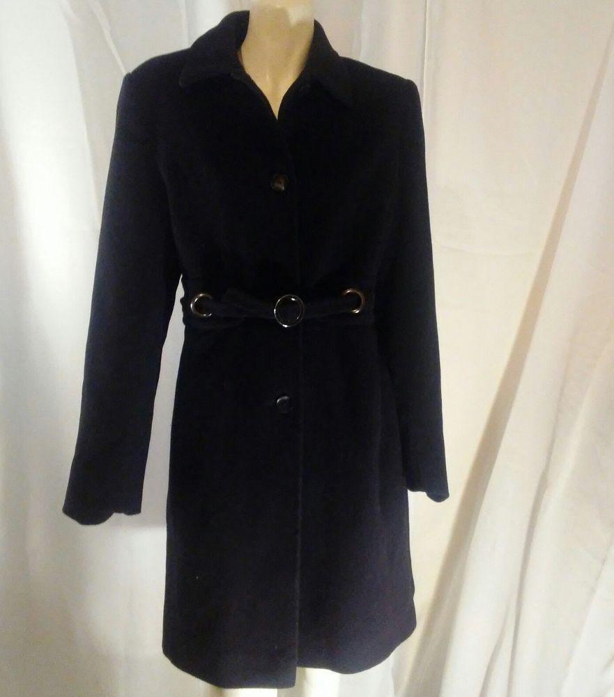Via Spiga Womens Wool and Cashmere Blend Black Coat Size 6