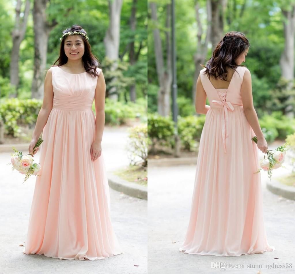 2020 modest blush coral bridesmaid prom evening dresses