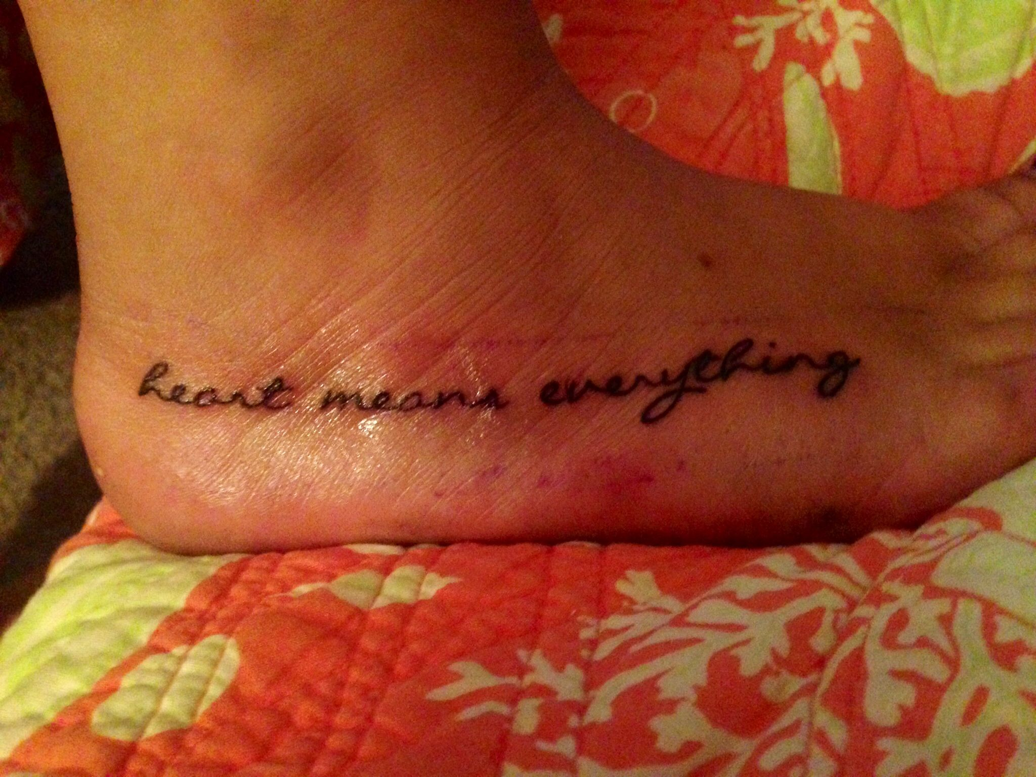 """My newest tattoo! """"heart means everything"""". A Day To"""