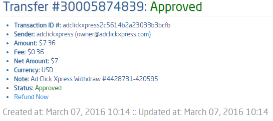 Get out of debt by doing something fun for a change! Ad Click Xpress is the top choice for passive income seekers.Making my daily earnings is fun, and makes it a very profitable! I am getting paid daily at ACX and here is proof of my latest withdrawal. This is not a scam and I love making money online with Ad Click Xpress.