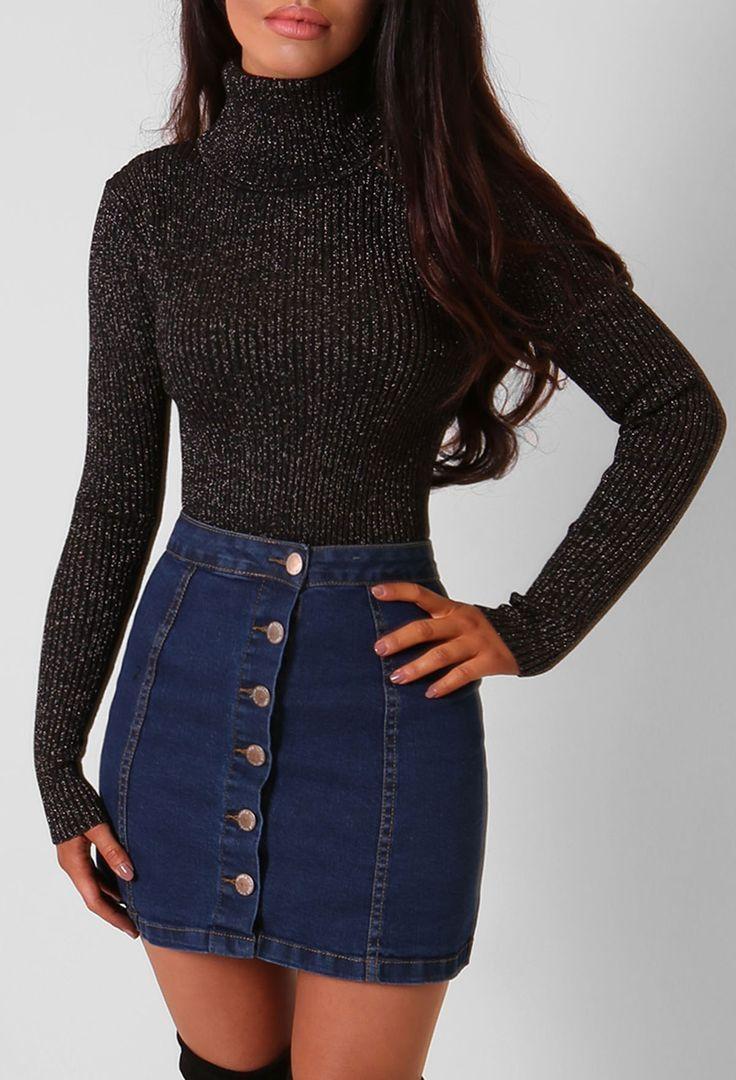 Chanelle Blue Button Up Denim Mini Skirt – 6