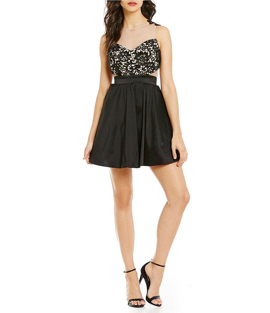 Dear moon illusion lace applique bodice skater dress outfits uc