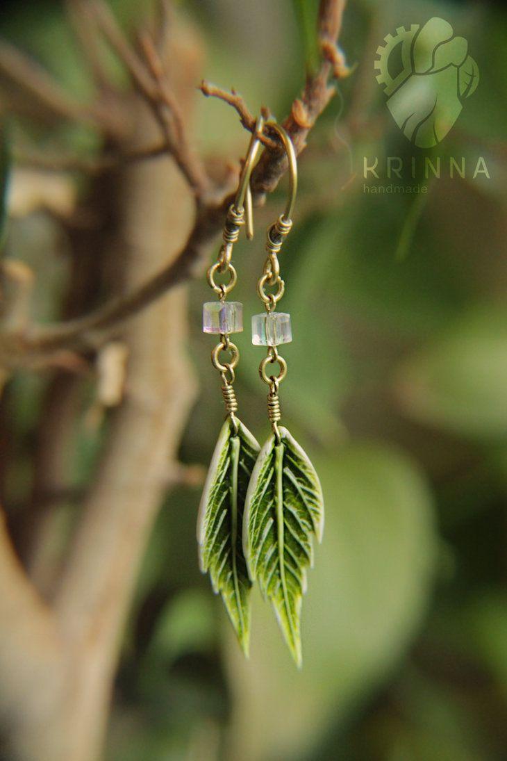 Handmade Jewelry Mint Green Copper Leaf Earrings Polymer Clay Earrings Polymer Clay Jewelry Gift For Her Clay Earrings Leaf Earrings