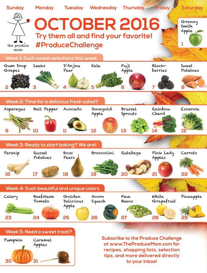 October 2016 Produce Challenge Calendar Fruits Vegetables Fruit Nutrition Facts Fruit And Vegetable Diet Fruit Nutrition