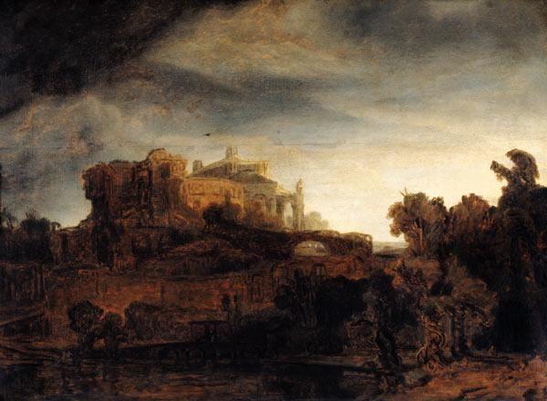 Rembrandt van Rijn - Landscape with a Chateau
