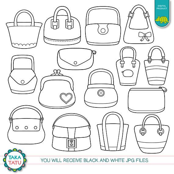 Tote Bag Digital Stamp Pack Black And White Clipart Purse Etsy In 2021 Drawing Bag Art Bag Digital Stamps