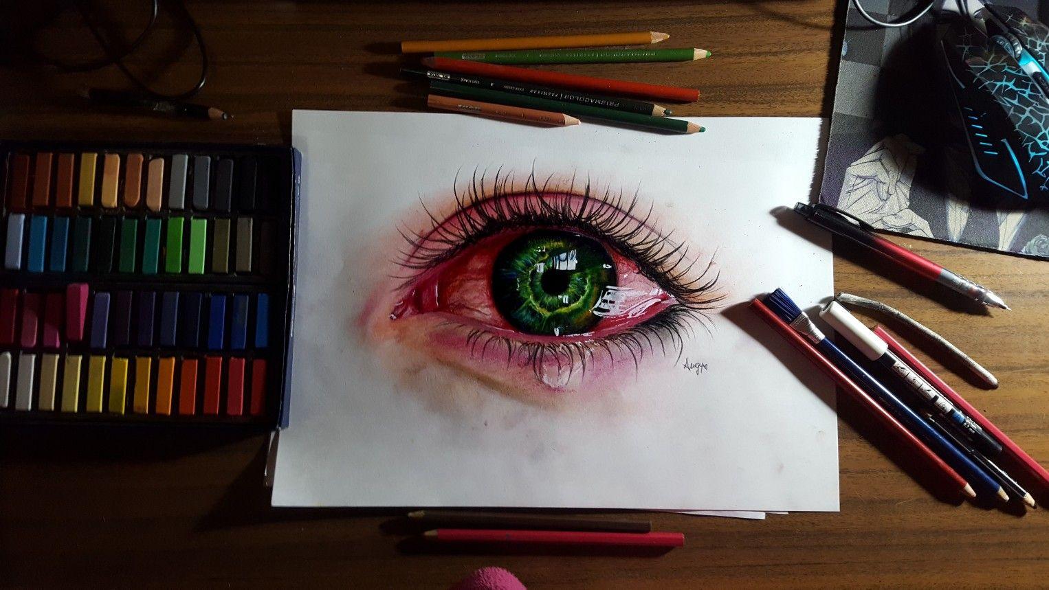 Drawingeyeeyescrytearssadpainartcharcoalpencils bloodartiststrugglerealismrealistic