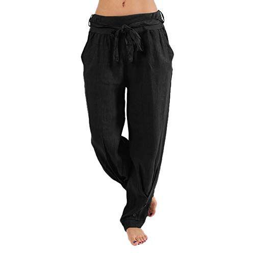 GreatestPAK Pantalon Sarouel Grande Taille de Sport décontracté à la Taille  Haute pour Femmes Pantalons de Yoga Hip hop (S Noir) 9fccb38151bc