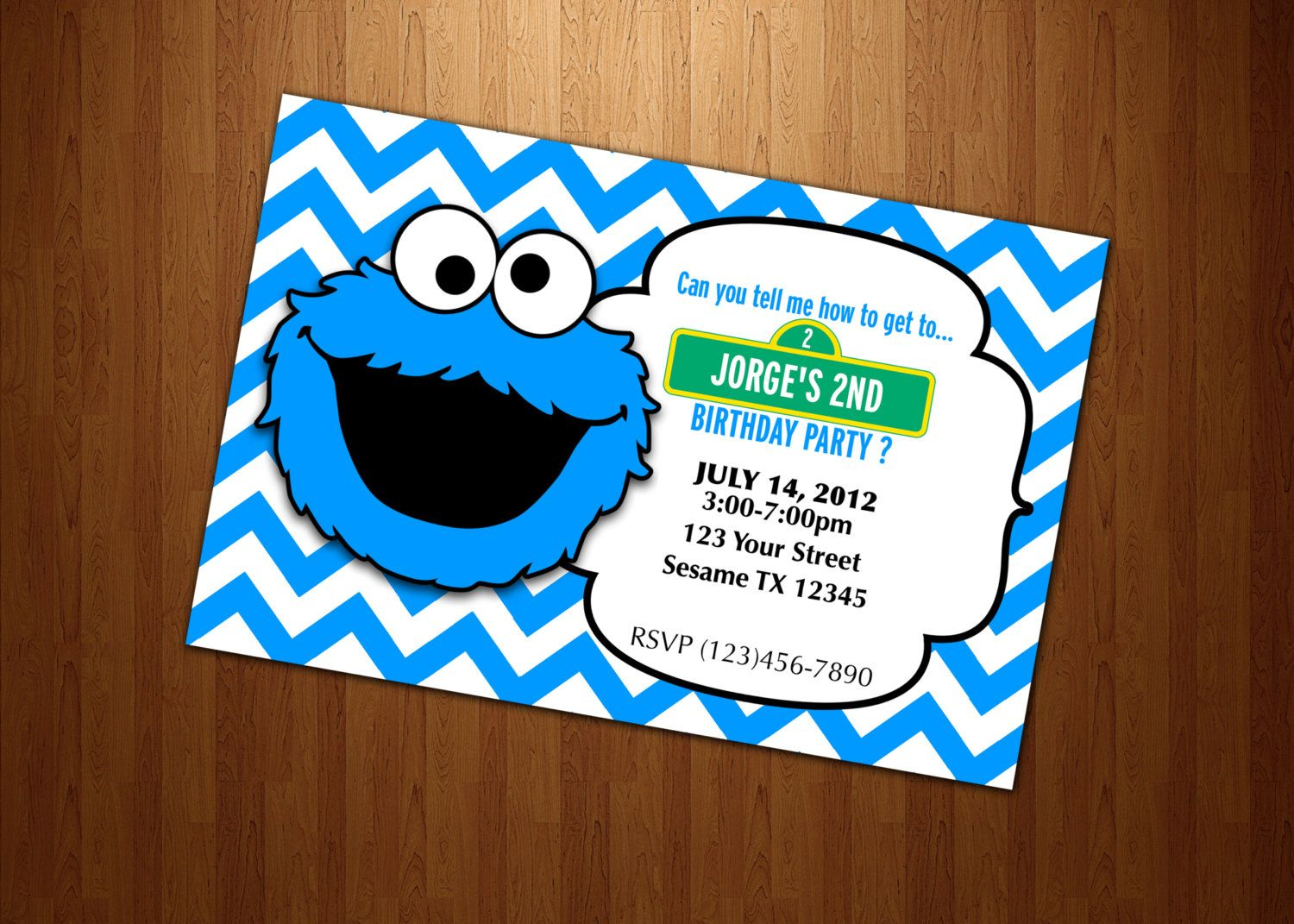 Cookie Monster Invitation Birthday party Personalized Digital File U ...