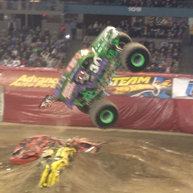 Grave digger in air. My sons fav monster truck.