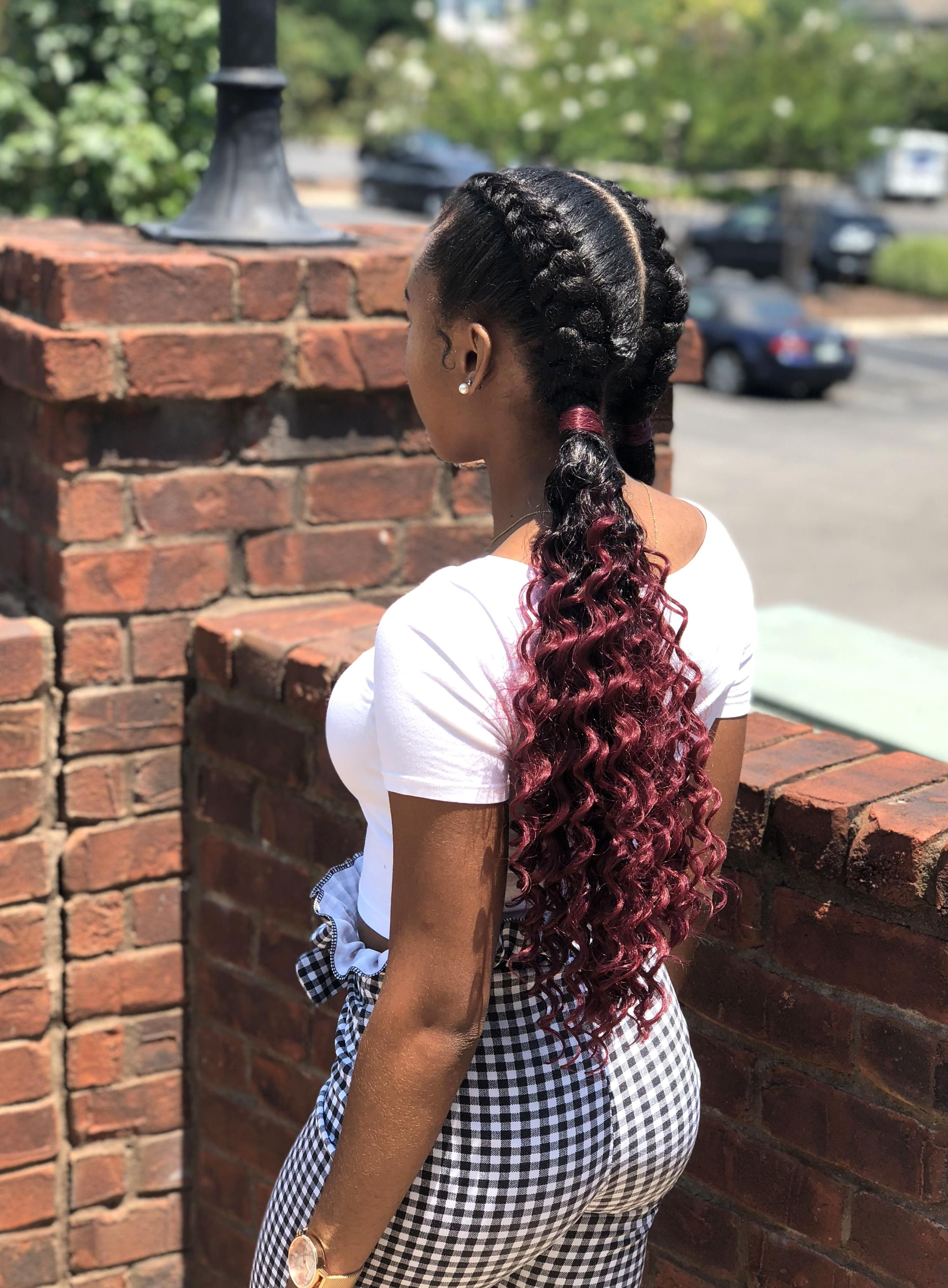 Two Feed In Dutch Braids To Curly Ombr Burgundy Ponytail In 2020 Feed In Braids Hairstyles Feed In Braid Braided Hairstyles