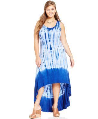soprano plus size sleeveless tie-dye maxi dress-$17.99 | macy's