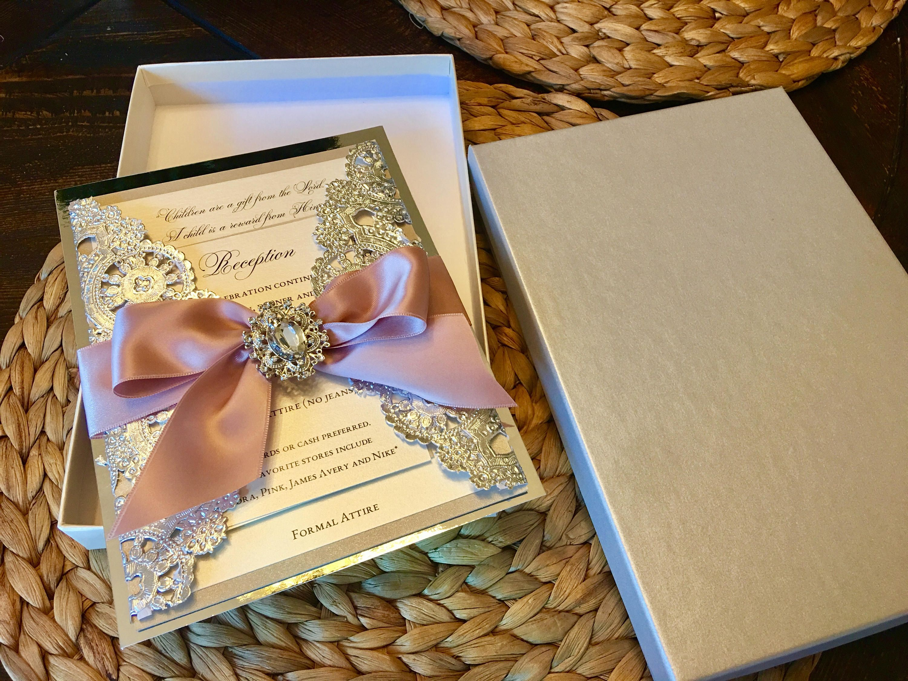 DEPOSIT - Metallic Doily Boxed Wedding Invitation with Ribbon Bow ...
