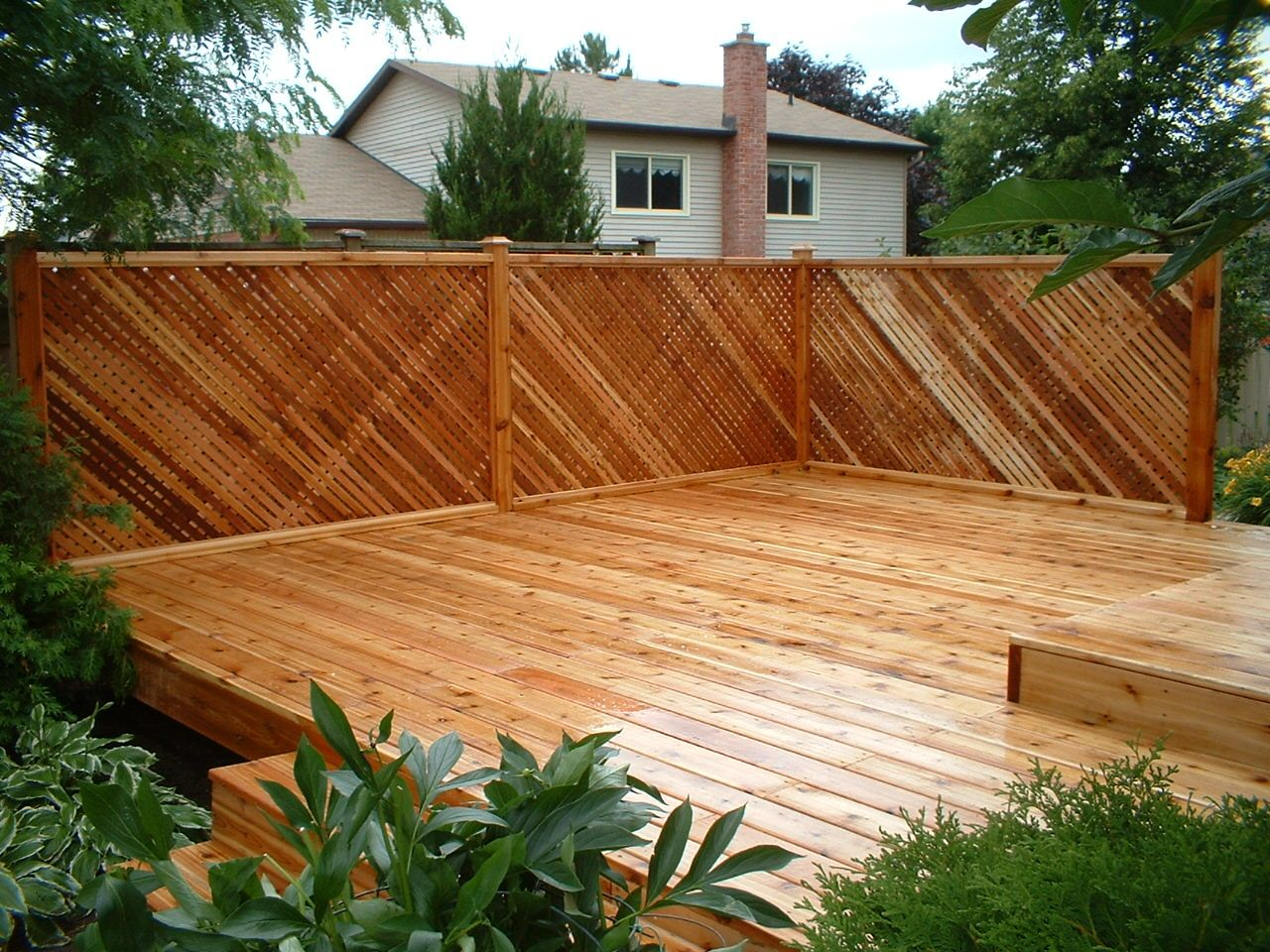 Design Deck Privacy Walls image detail for western red cedar deck with privacy lattice rails