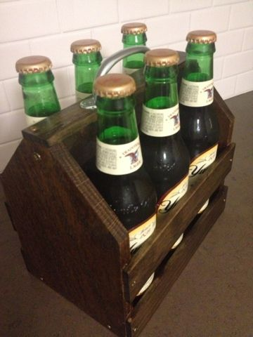 DIY 6-pack beer crate. Great idea for transporting beer in style!