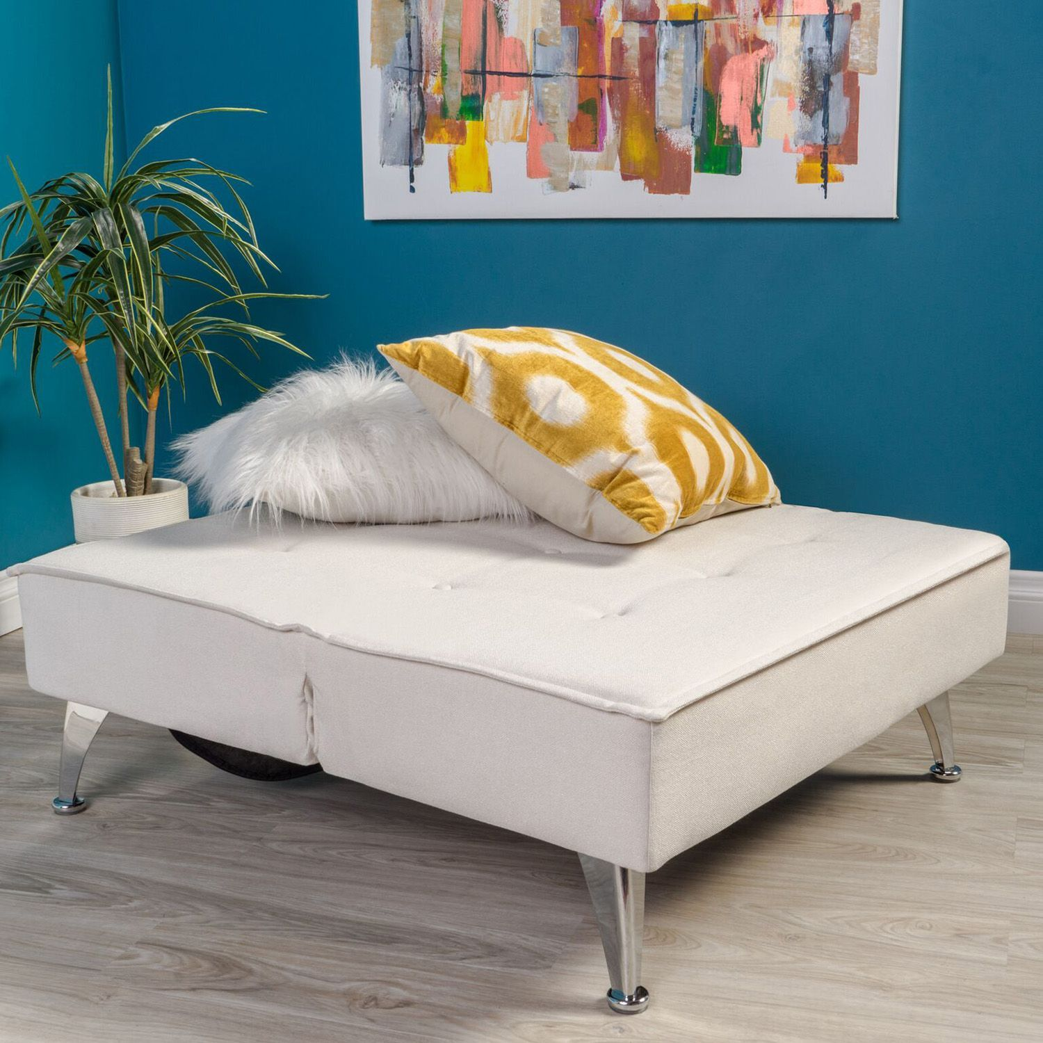 Dayton Ivory Chair Bed Fabric sofa bed, Beige bed