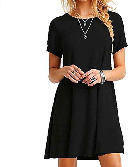 online store eb39d 69091 Znystar Donna Estate Sciolto Manica Corta Casual Vestito (L ...