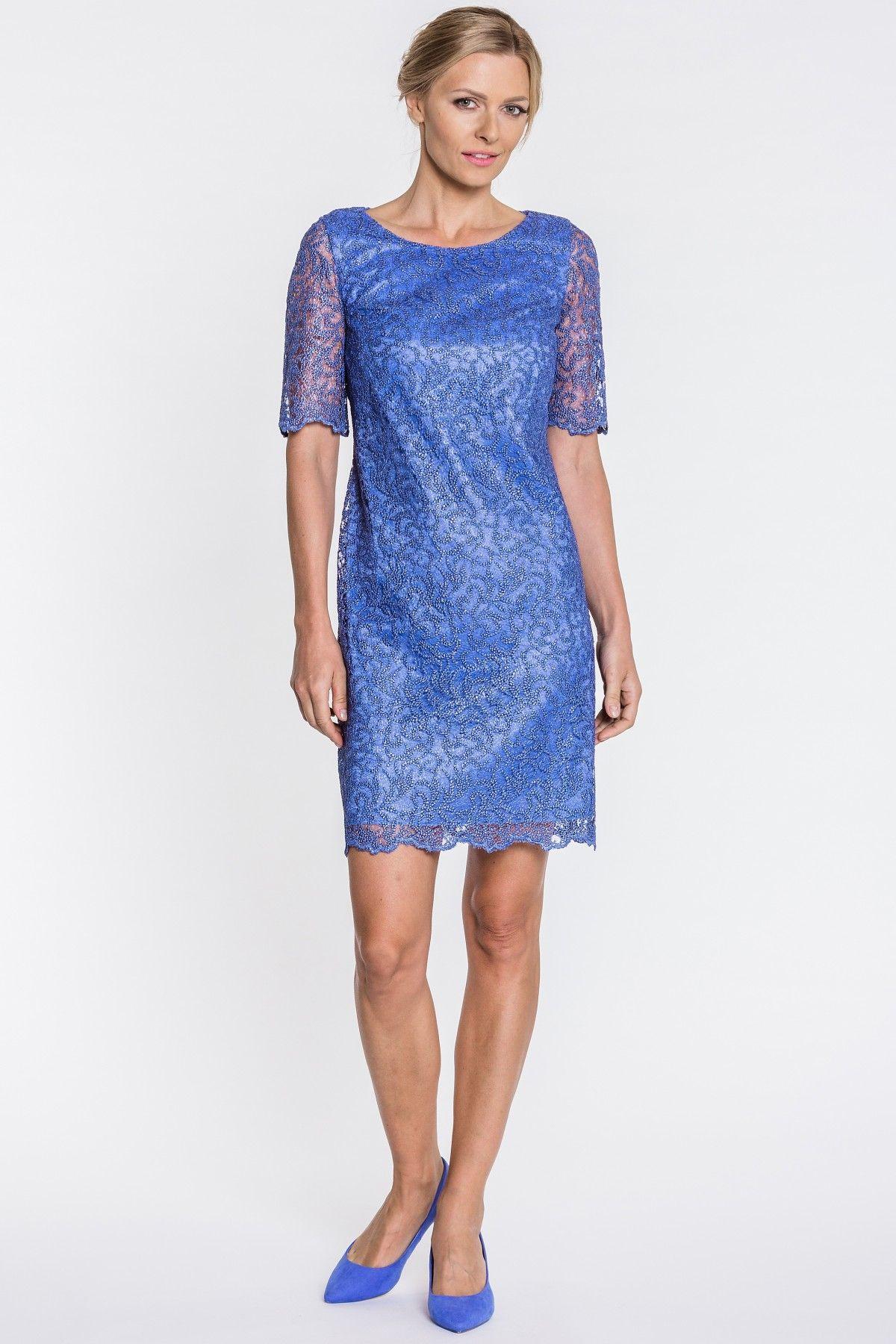 5849563496 Niebieska sukienka z koronki - Vito Vergelis - Odzież damska Balladine.com  - Polska Moda