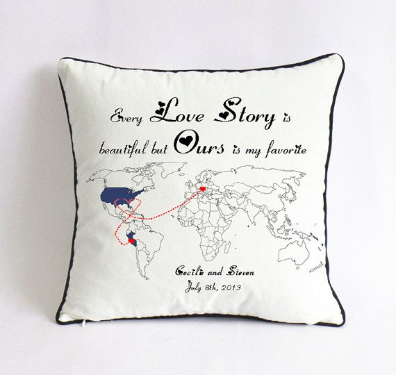 long distance love story pillow-world map cushion-custom birthday gift for boyfriend-every love story is beautiful,but ours is my favorate
