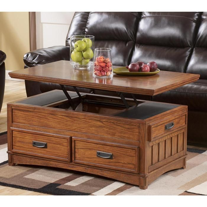 Good Cross Island Lift Top Coffee Table With Oak Stain