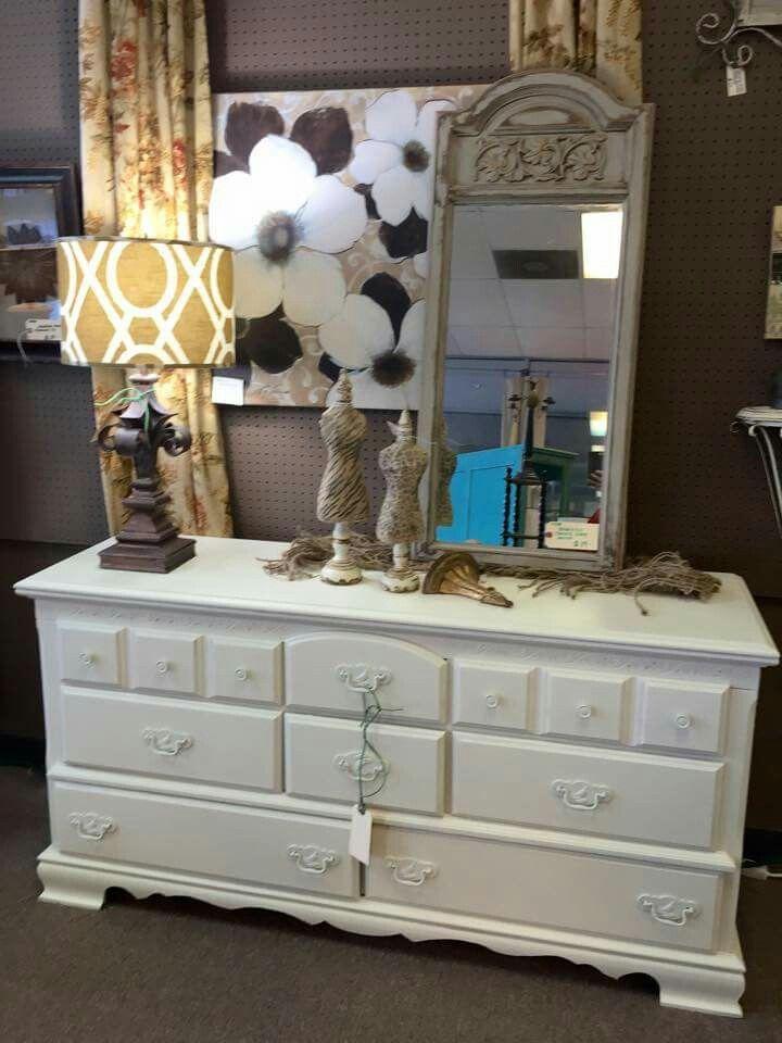 Dresser painted with Creamy Linen Farmhouse Paint.