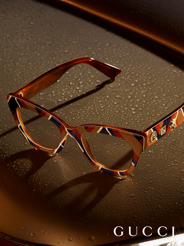 c11f21ee0a Chevron patterned glasses appear in the new Gucci Eyewear campaign ...