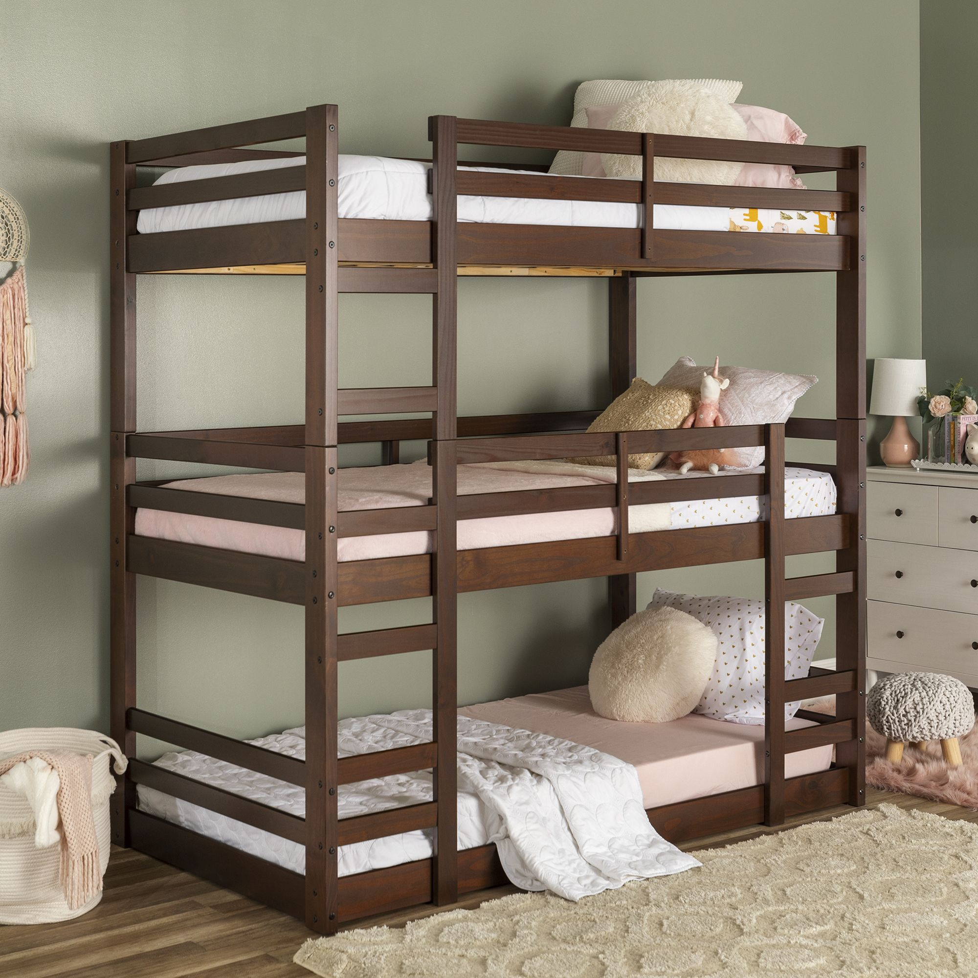 Manor Park Solid Wood Triple Bunk Bed Twin Over Twin Walnut Walmart Com Triple Bunk Bed Bunk Beds For Girls Room Diy Bunk Bed Solid wood bunk beds twin over twin