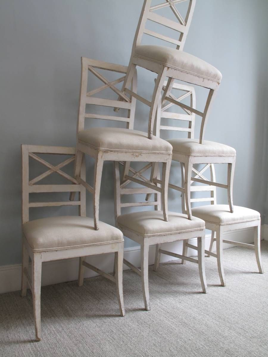 Swedish Antiques Set Of Wooden Swedish Dining Chairs