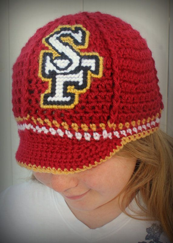 723f30bf0d1 Crochet San Francisco team inspired hat made by 2LoopyCrocheters ...
