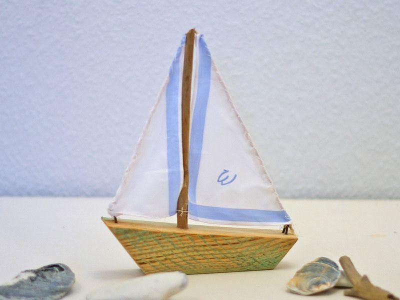 diy Deko, Objekte, Holzsegelboot mit Stoffsegel, Segelschiff zur ...