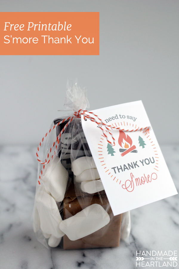 Photo of S'more Thank You Gift Free Printable. A simple thank you gift to give with the m…