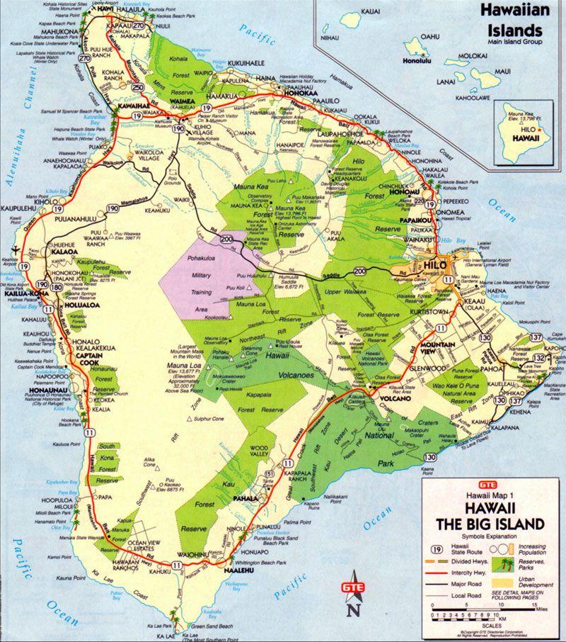 big island map map of big island hawaii pinterest big