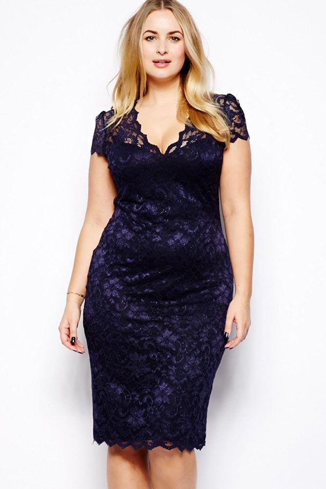 Cheap Navy Blue Scalloped V Neck Lace Plus Size Midi Dress
