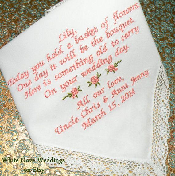 Flower Girl Wedding Gifts: Flower Girl Gift Embroidered Wedding Hankerchief Wedding