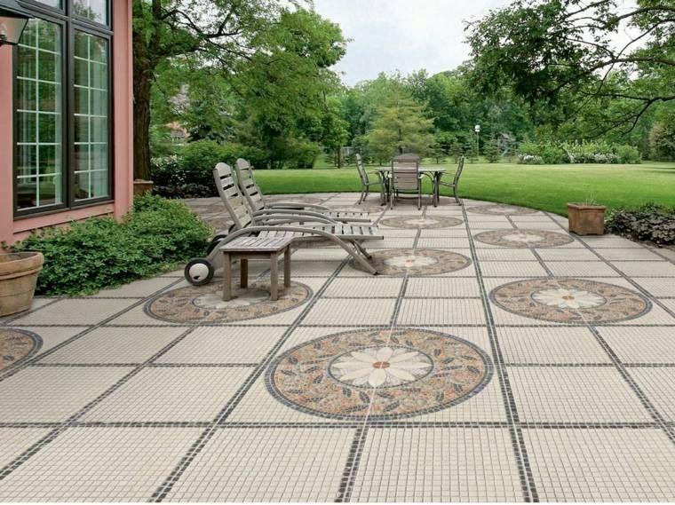Baldosas para el jard n moderno 50 ideas preciosas patio piedras pinterest suelos jardin - Suelos de jardin exterior ...