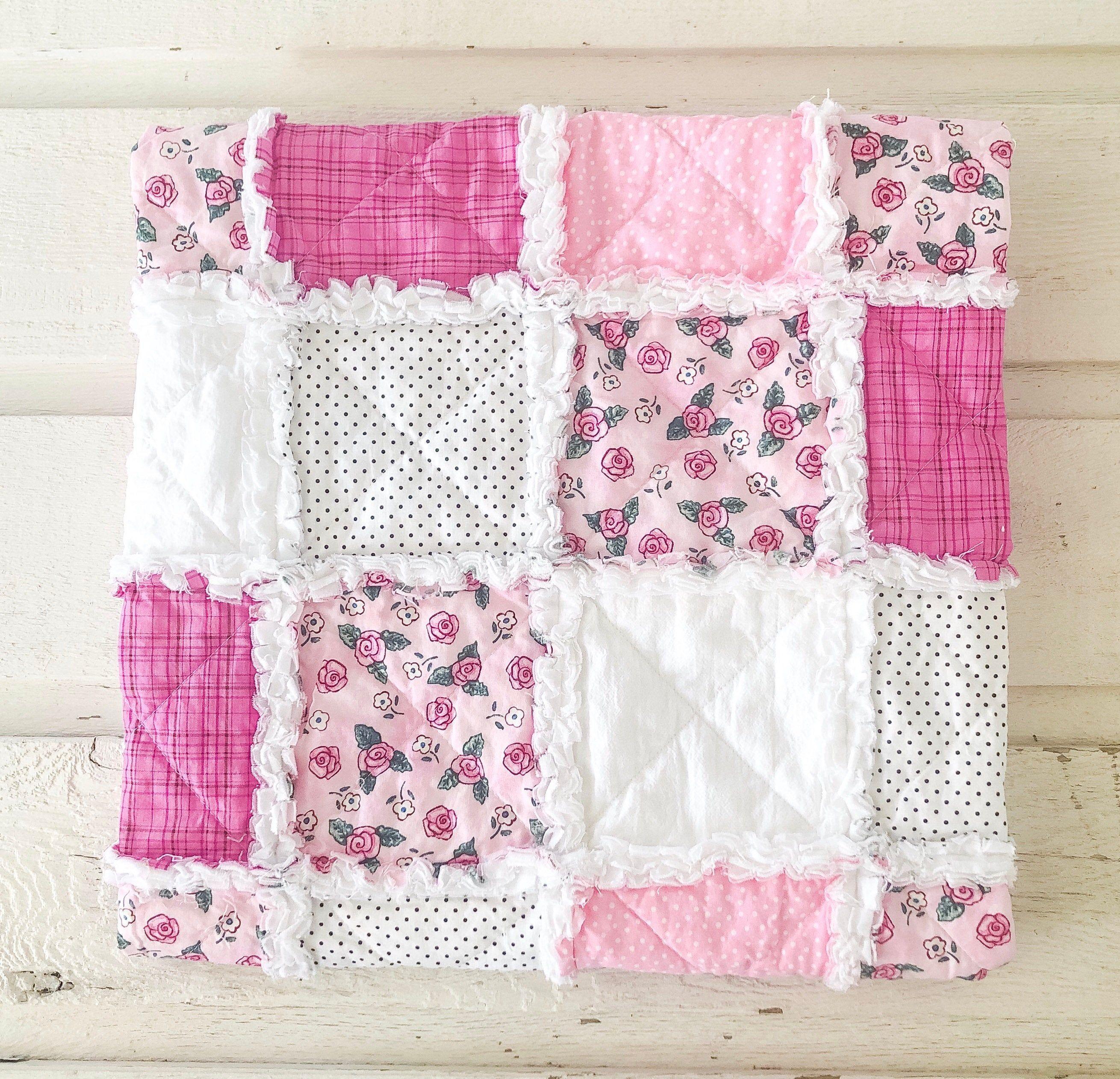 Baby girl rag quilt for sale handmade crib quilt baby