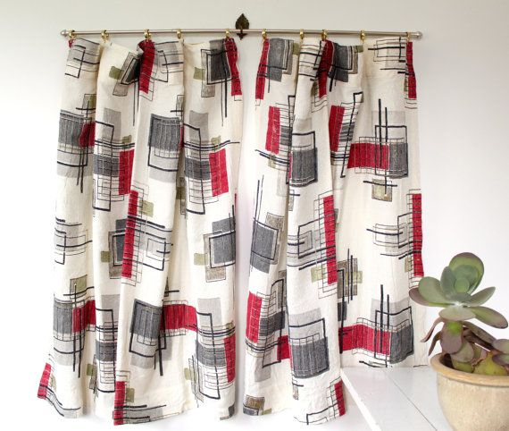 Vintage 1950s Curtains. Barkcloth   Atomic Luncheonettevintage, Etsy