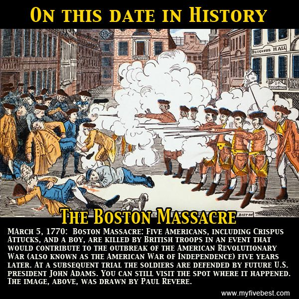 The Boston Massacre happened on this date. Do you know which US President  would represent