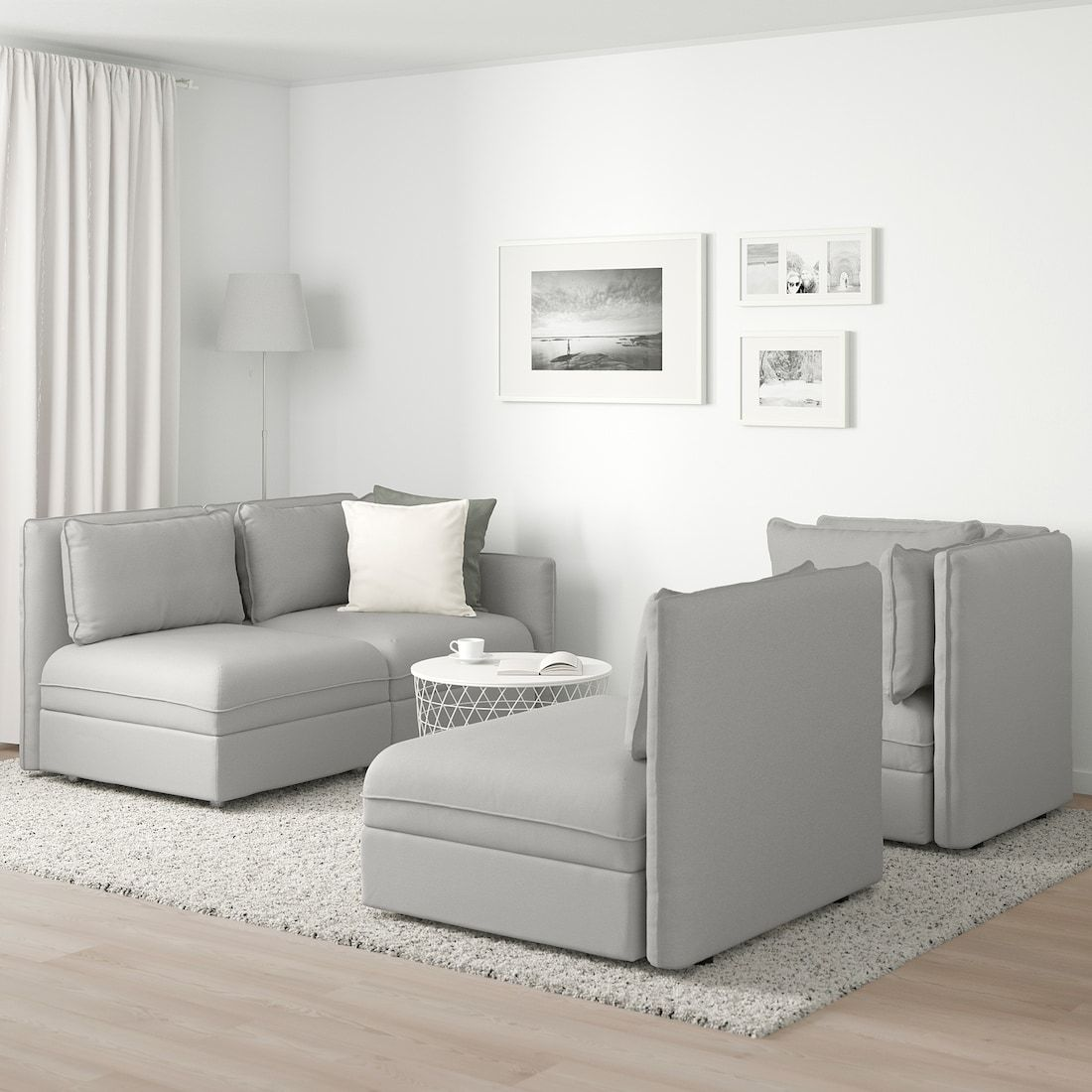 Vallentuna With Storage Ramna Light Grey Modular Corner Sofa 3 Seat Ikea In 2020 Modular Corner Sofa Corner Sofa Vallentuna