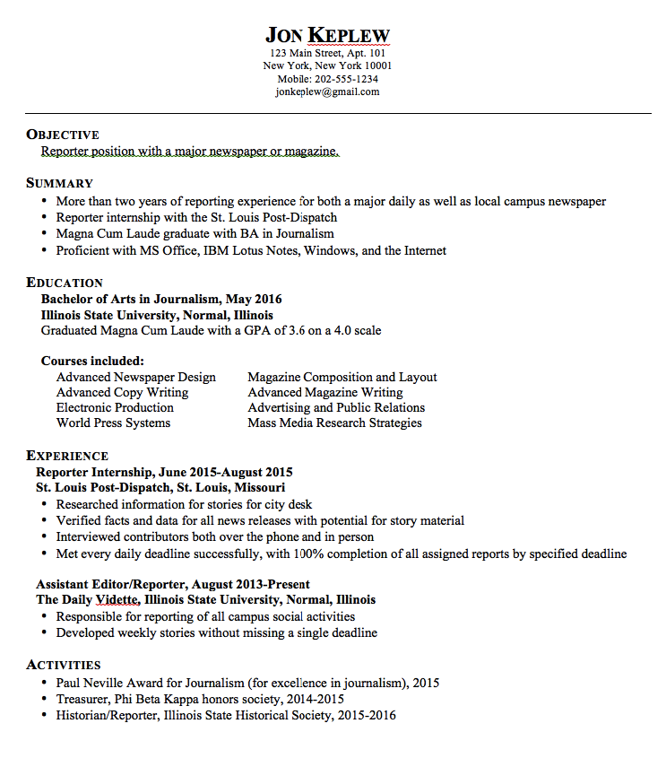 Reporter Resume Examples Examples Resume Cv