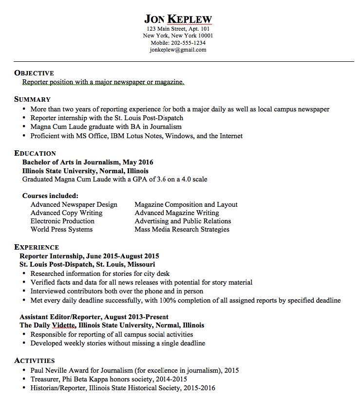 Reporter Resume Examples   Http://exampleresumecv.org/reporter Resume