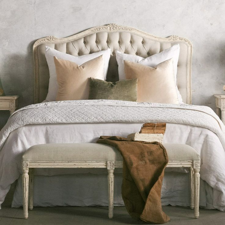 French Country white weathered bed | Kathy Kuo Home