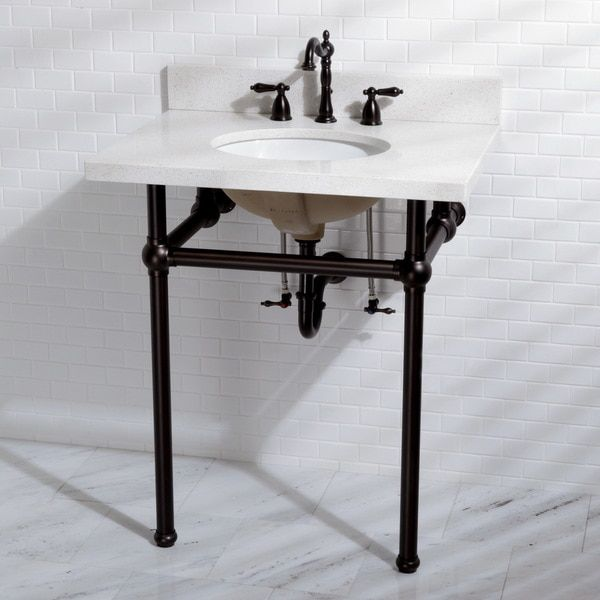 White quartz 30 inch wall mount pedestal bathroom sink for Pedestal sink with metal legs