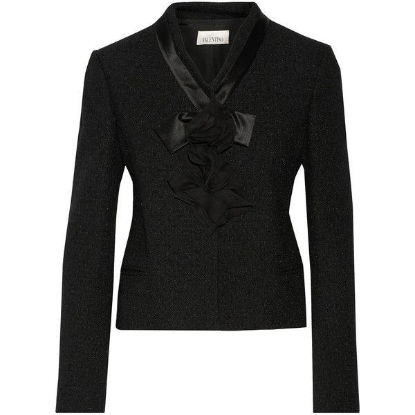 Valentino Appliquéd wool-blend bouclé jacket featuring polyvore, fashion, clothing, outerwear, jackets, black, black jacket, wool blend jacket, flower print jacket, floral print jacket and floral jacket