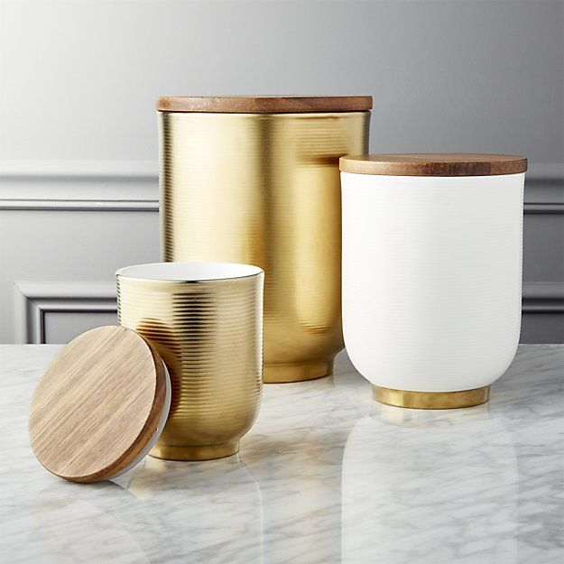 Echo White And Gold Canisters Set Of 3 Wall Mounted Shelves Porcelain Container Dining Sets Modern