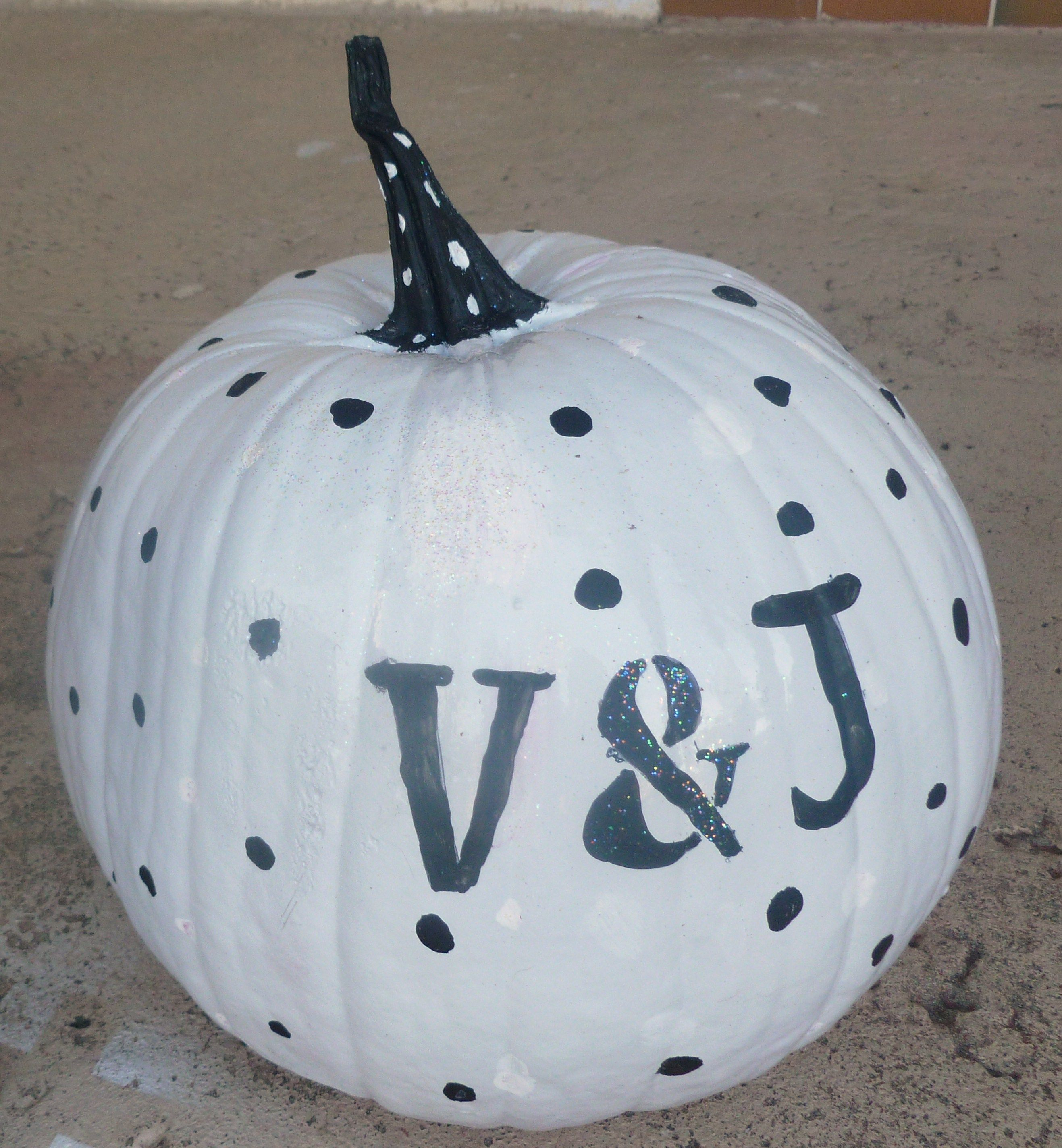 Painted, added lots of dots, and finished our couple pumpkin
