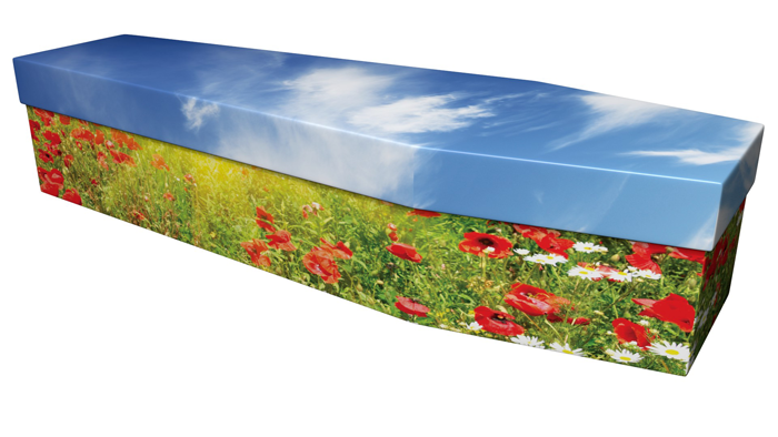 Poppy design picture cardboard coffin #ecofuneral #picturecoffin #coffin #cardboardcoffin #ecoffins #eco